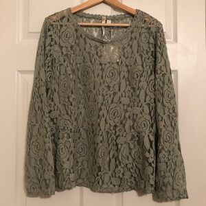 LC Lauren Conrad Sheer Green Lace Long Sleeve Top